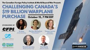 event poster for challenging canada's warplane purchase. headshots of the five featured speakers on the left; an f-35 in flight on the right.