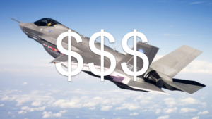 flying F-35 jet superimposed with three large dollar signs